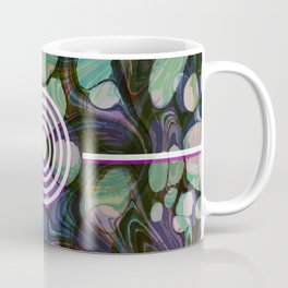 Abstract Painting - Marbling Art 02- Fluid Painting - Blue Green, Black Abstract - Modern Abstract Coffee Mug
