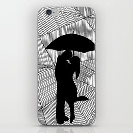 Man and Lady with Umbrella Silhouette  iPhone Skin