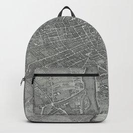 Paris Map Plan Antique Old 1739 Vintage Europe Backpack