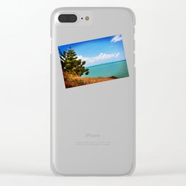 Pine Tree on a Headland with Topical Ocean Clear iPhone Case