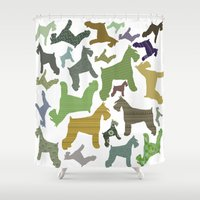 schnauzer Shower Curtains featuring schnauzer pattern by monicamarcov
