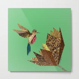 Hummingbird A with gold flower (green) Metal Print