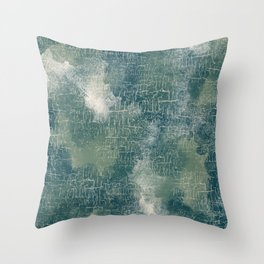 Grunge Abstract Art in Teal, Olive Green and Cream Throw Pillow