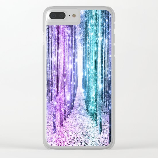 Magical Forest Lavender Aqua Teal Ombre Clear iPhone Case