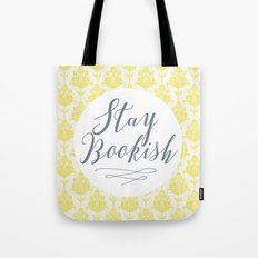 Stay Bookish vintage yellow background Tote Bag