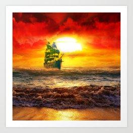 Black Pearl Pirate Ship Art Print