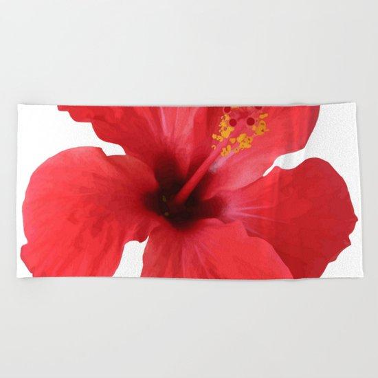 Scarlet Hibiscus Tropical Flower Vector Beach Towel