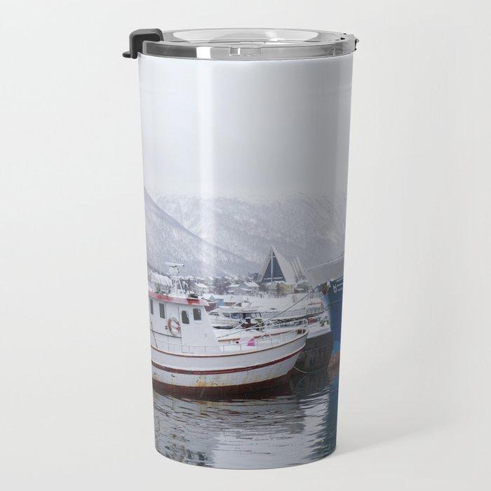 Boats in Tromso Travel Mug