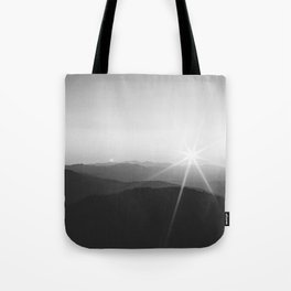 Sun on the Hill (Black and White) Tote Bag