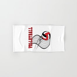 Volleyball Sport Game - Net - Red Hand & Bath Towel
