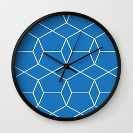 Blue Pentagonal Pattern Wall Clock