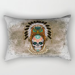 Indian Native Owl Sugar Skull Rectangular Pillow