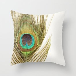 Peacock Feather Throw Pillow