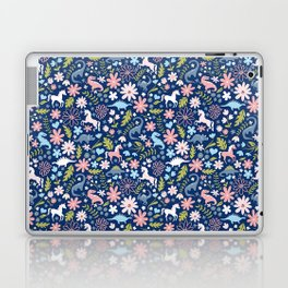 Dinosaur + Unicorn on Royal Blue Laptop & iPad Skin