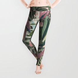 Vintage & Shabby Chic - Sepia Pink Tropical Bird Summer Garden Leggings