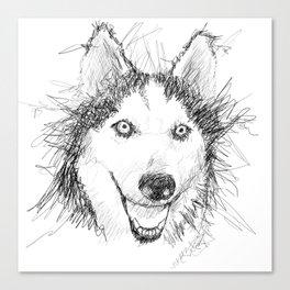 Scribble Art of Husky Dog Canvas Print