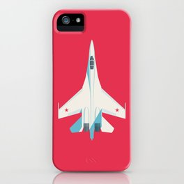 Su-27 Flanker Fighter Jet Aircraft - Crimson iPhone Case