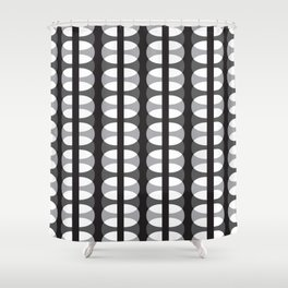Geometric Pattern 186 (gray ovals) Shower Curtain