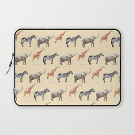 Animals, Elephant, Giraffe, Zebra, Zoo, Kids, Nursery, Minimal, Pattern, Modern art Laptop Sleeve