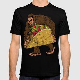"""Bigfoot With A Taco Funny Distressed Cinco De Mayo T-Shirt "" T-shirt"
