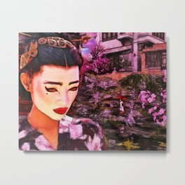 Geisha At A Japanese Pond Attractive Japanese Woman Metal Print