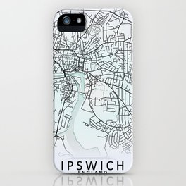 Ipswich, England, White, City, Map iPhone Case