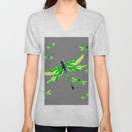 EMERALD GREEN  SWAMP DRAGONFLIES GREY ART Unisex V-Neck