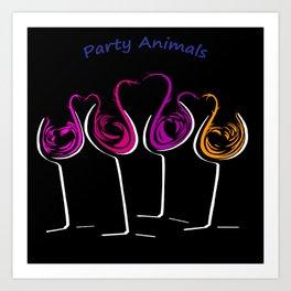 Party Animals Four on Black Art Print