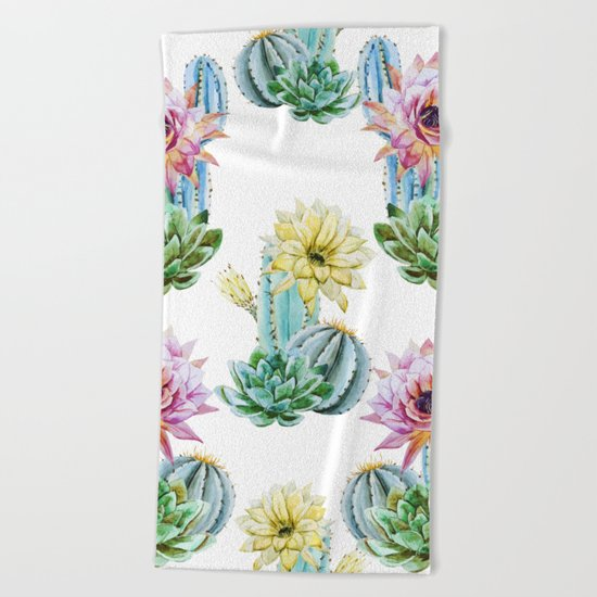 Cactus Pattern 06 Beach Towel