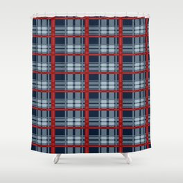Red Line White And Red Lumberjack Flannel Pattern Shower Curtain