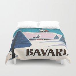 Bavaria, Germany Vintage Ski Travel Poster Duvet Cover