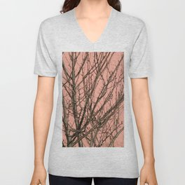 Bare tree against a pink wall Unisex V-Neck