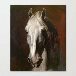 The head of white horse - Theodore Gericault Canvas Print
