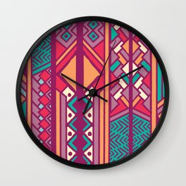 Tribal ethnic geometric pattern 001 Wall Clock