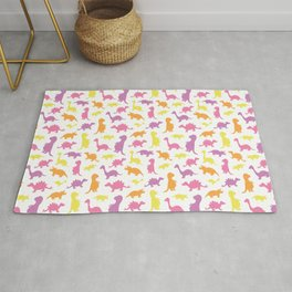 Dinosaurs cute pattern colorful on white Rug