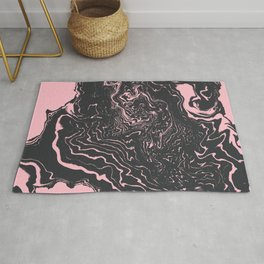 Kagami - spilled ink minimal modern abstract watercolor marble pattern marbling marble phone case Rug