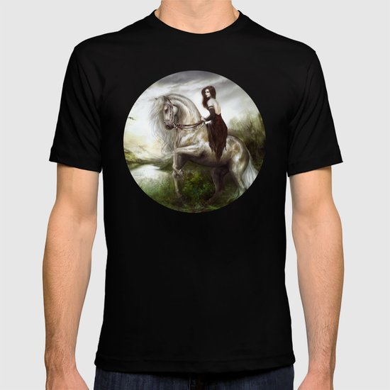 Morning welcome - Royal redead girl riding a white horse T-shirt
