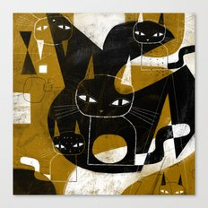 ABSTRACT WITH FIVE CATS Canvas Print
