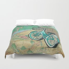 San Fransico Bicycle Revelry Duvet Cover