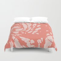 cracked Duvet Covers featuring Cracked Peach by lillianhibiscus