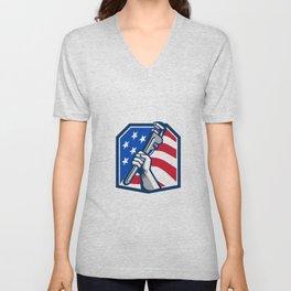 Plumber Hand Pipe Wrench USA Flag Retro Unisex V-Neck