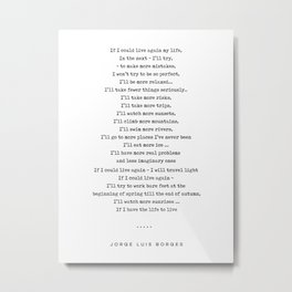 Jorge Luis Borges Quote 05 - Typewriter Quote - Minimal, Modern, Classy, Sophisticated Art Prints Metal Print