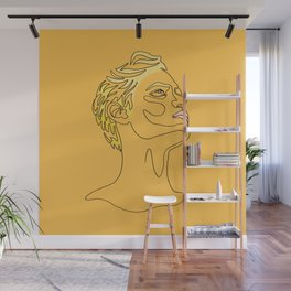 My Blue Eyed Boy - one line pencil drawing. Wall Mural