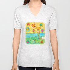 hang 10 groovy surf dude flower power Unisex V-Neck
