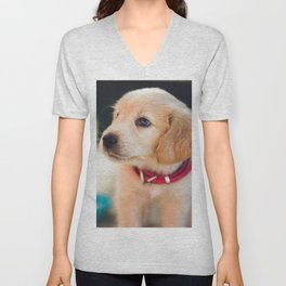 Golden Retriever Puppy Unisex V-Neck
