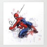 spider man Art Prints featuring Spider-Man  by Isaak_Rodriguez