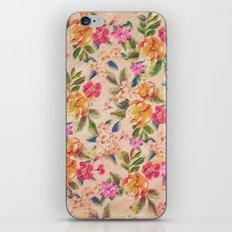 Golden Flitch (Digital Vintage Retro / Glitched Pastel Flowers - Floral design pattern) iPhone Skin