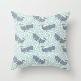 whale and weeds Throw Pillow