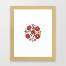 Hungarian embroidery inspired pattern white Framed Art Print