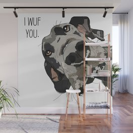 I Wuf You - Great Dane Wall Mural